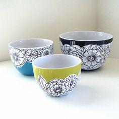 Ceramic Nesting Bowls Flowers Green Turquoise Black White Hand Painted Modern Folk Art Home Decor, $120.0