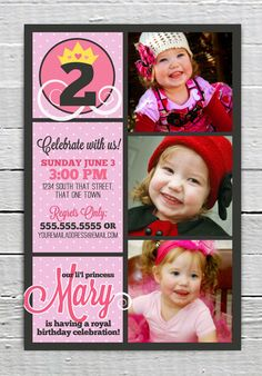 Coupon Code - REPIN10 for 10% off Pink Princess Custom Birthday Party Printable Invitation Girl invite supply Crown Printing Services Available $12.99