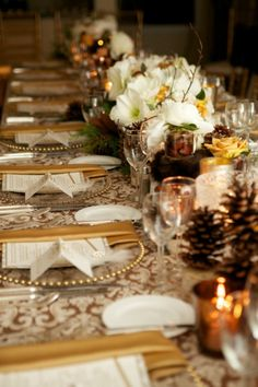 Thanksgiving Tables: elegant browns, whites and golds with natural elements