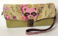 Tula Pink Raccoon and Olive Green Necessary Clutch Wallet by UniquelyMichelle on Etsy