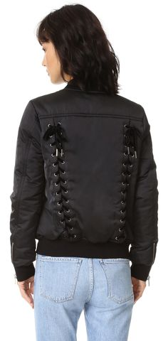 Pam & Gela Lace Up Bomber Jacket | #Chic Only #Glamour Always