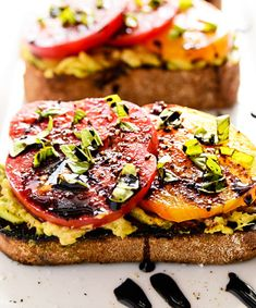 Heirloom Tomato and Avocado Toast With Balsamic Drizzle