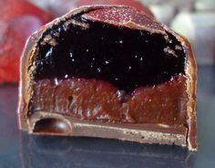 chocolats à la gelée de cassis et ganache