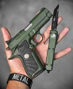 Wilson Combat EDC double stack with matching Ultratech Auto blade Weapons Guns, Guns And Ammo, Custom Guns, Rifles, Military Gear, Cool Guns, Tactical Gear, Firearms, Shotguns