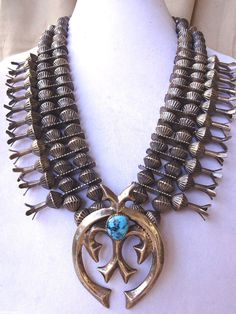 Old 1930s NAVAJO Squash Blossom NECKLACE Coin Silver Fluted Beads Cast NAJA 403g $2,337.50
