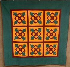 A striking Pennsylvania quilt found Schubert Area of Northern Berks County. Glowing in cheddar! The finest hand quilting! The applique is hand sewn. A special quilt for the advanced collector! Quilts Vintage, Old Quilts, Antique Quilts, Amish Quilts, Costume Halloween, Shabby, Get Up And Walk, Beautiful Soup, Hacks