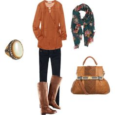 Scarves add just the right touch with a super cute outfit.   boots, dark skinny jeans