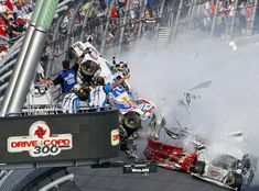 Image detail for -NASCAR driver Kyle Larson looks at his wrecked Chevrolet after a crash on the final lap during the NASCAR Nationwide Series 300 race at the. Nascar Crash, Nascar Race Cars, Nascar Autos, Nascar Wrecks, Nascar Daytona, Daytona 500, Daytona Beach, Daytona International Speedway, Dale Earnhardt Jr