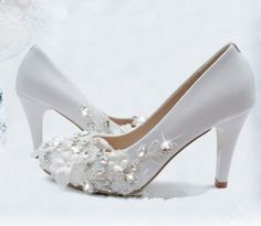 Handmade white lace Pearl leather Wedding by weddingdressoverture, $129.99
