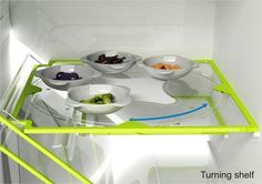 BEST fridge ever! It has a shelf with a lazy-susan! great idea!