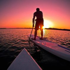 Paddling towards the sunset