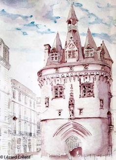 Porte Cailhau Bordeaux aquarelle aux vins Monuments, Bordeaux, Art Inspo, Sketching, Journals, Photoshoot, Drawings, Watercolor Paintings, Sketch