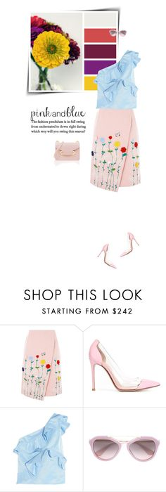"""Ruffles and florals"" by sophiek82 ❤ liked on Polyvore featuring VIVETTA, Gianvito Rossi, MSGM, Prada and Sophie Hulme"