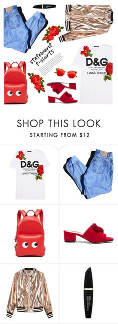 """""""Say What: Statement T-Shirts"""" by dorinela-hamamci ❤ liked on Polyvore featuring Dolce&Gabbana, Levi's, Anya Hindmarch, Raye, Sans Souci, Max Factor, polyvoreeditorial, polyvorecontest and statementtshirt"""