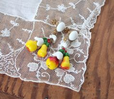 Vintage 1950s Earrings // 40s 50s Milk Glass Painted Kitsch Fruit Cluster Dangle Earrings // Pears and Apples // New Old Stock by TrueValueVintage on Etsy