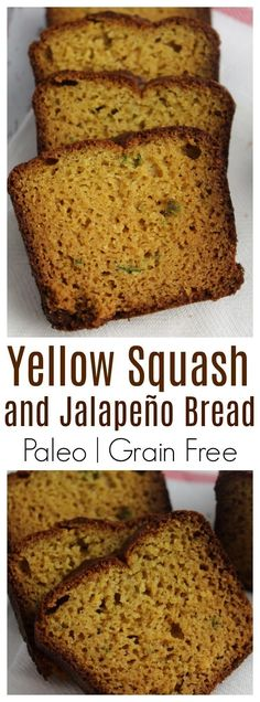 Moist and delicious paleo yellow squash and jalapeño bread with simple ingredients and sweetened with maple syrup. Moist and delicious paleo yellow squash and jalapeño bread with simple ingredients and sweetened with maple syrup. Yellow Squash Bread Recipe, Yellow Squash Muffins, Summer Squash Bread, Yellow Squash Casserole, Paleo Dessert, Paleo Sweets, Dessert Recipes, Quick Bread Recipes, Cookies