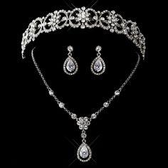 Antique Silver Clear Crystal and Rhinestone Bridal Tiara Set