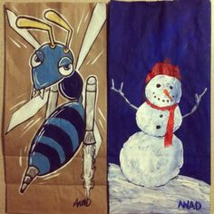 20121204 Sketch lunch bags for my sons. #buzzbomb #sonicthehedgehog #snowman #winter #christmas #videogames #kid #lunch #paint #art sketch #dad #anad