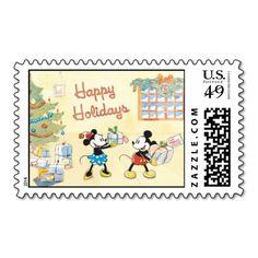 Classic Mickey & Minnie Happy Holidays Postage Stamps