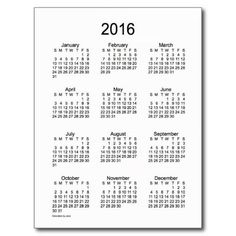 Black and White 2016 Mini Calendar by Janz Post Cards