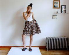 vintage / floral skirt / plus size / semi by almostALWAYSvintage