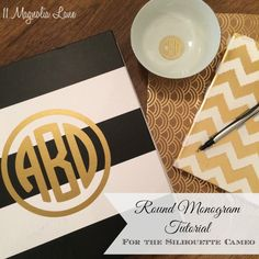 Tutorial: How to Create Round Vinyl Monograms Using the Silhouette CAMEO and Mongramit App Silhouette Cutter, Silhouette School, Silhouette Cameo Machine, Silhouette Vinyl, Silhouette Design, Silhouette Studio, Silhouette Portrait, Silhouette Cameo Tutorials, Silhouette Projects
