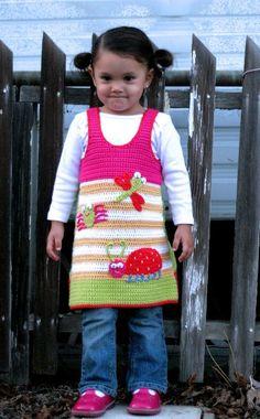 Love Bugs Jumper Dress - Crochet 2-8