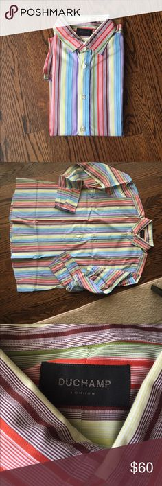 "Men's Dress Shirt Purchased in London from Duchamp and worn only twice!  Gorgeous 100% cotton long sleeve multi-color striped shirt comes folded in dry cleaning bag.  Requires cufflinks.  Tag size reads 18"" / 45 cm Duchamp Shirts Dress Shirts"