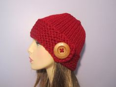 Knit Hat  Red Hand Knit Hat with Wood Button  by UpNorthKnits, $35.00