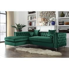 Shop for Chic Home Monet Velvet Modern Contemporary Button Tufted with Silver Nailhead Trim Left Facing Sectional Sofa. Get free delivery On EVERYTHING* Overstock - Your Online Furniture Shop! Small Cottage House Plans, Small Cottage Homes, Sofa Green, Velvet Green Couch, Living Colors, Sofa Couch, Sectional Sofas, Tufted Sofa, Tufting Buttons