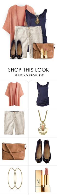 """""""Bermudas & Flats"""" by colierollers ❤ liked on Polyvore featuring Banana Republic, Vince Camuto, Pieces, Chloé, Carolina Bucci and Yves Saint Laurent"""