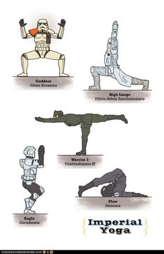 Star Wars yoga- Trial of Skill (focus), Trial of Flesh (endurance and strength) and Trial of Spirit (mastery of emotions and meditation) Im