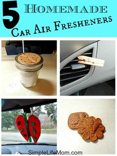 5 Homemade Car Air Fresheners - with essential oils and/or herbs. Frugal, Easy, Homemade Craft