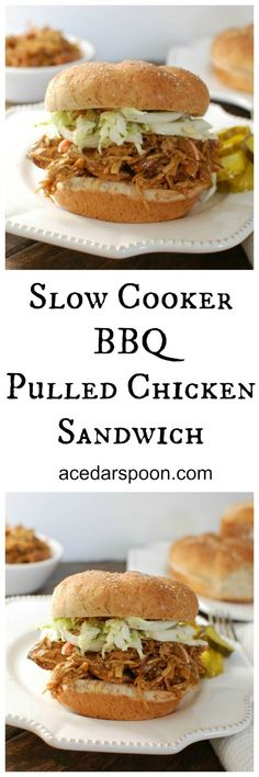 Slow Cooker BBQ Pulled Chicken Sandwich are an easy weeknight meal the family will love // A Cedar Spoon