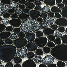 Preto puro Porcelian telha Cerâmica do Mosaico Do Banheiro Chuveiro cozinha backsplash Parede piscina Floordecoration FRETE Grátis
