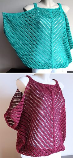 Free Knitting Pattern for Flirt Top - Lace Sweater with Cold . Free Knitting Pattern for Flirt Top - lace sweater with cold . - History of Knitti. Gilet Crochet, Crochet Lace, Free Crochet, Ravelry Crochet, Ravelry Free, Tunisian Crochet, Crochet Shawl, Vintage Crochet, Knitting Stitches