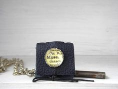 Leather Muse book Necklace Steampunk  MUSINGS  by AlteredEras,