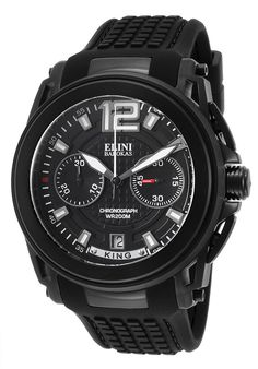 Elini Barokas Watches King Chronograph Black Silicone Dial and Case  20014-BB-01 0a9574e82d