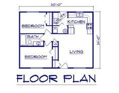 Guest house X floor plans Bernard Building Center - Ranch 20x30 House Plans, 2 Bedroom House Plans, Cottage Floor Plans, Small House Floor Plans, Cabin Floor Plans, House Plans One Story, Ranch House Plans, Cottage House Plans, Best House Plans
