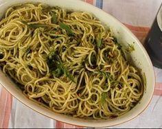 Spaghetti met champignons/sluimererwten, spekjes en pesto