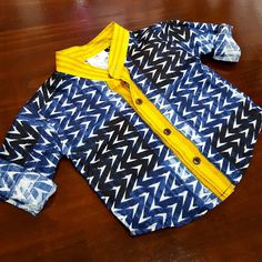 boy's mandarin collar button up shirt in navy geometric print with contrasting yellow features. Baby boys to tween boy sizes. Shop boy's coastal styles > Online or visit us in Noosa! How To Make Tshirts, Tween Fashion, Toddler Preschool, Mandarin Collar, Boy Outfits, Button Up Shirts, Baby Boys, Children's Boutique, Cotton