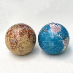 """Pack of 6 Wordly Blue and Tan Earth Globe Christmas Ball Ornaments 4"""" (100mm)"""