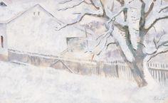 Szőnyi István , Zebegényi utca télen, 1940-es évek  , Gouache, Papír