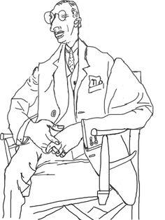 """Stravinsky par Picasso. Mon premier dessin """"cerveau droit"""""""
