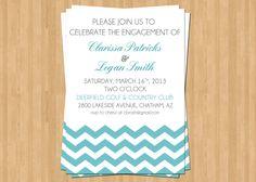 Engagement Party Invitation, Modern, Chevron - Tiffany Blue, Printable