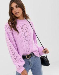 54857953dd ASOS DESIGN open stitch sweater in fluffy yarn Sweater Cardigan
