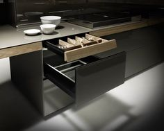 Genius Loci, the new kitchen inspired by the 'secretaire,' the piece of antique furniture with secret drawers. Rustic Kitchen, Diy Kitchen, Kitchen And Bath, Kitchen Interior, Kitchen Dining, Space Kitchen, Kitchen Tables, Genius Loci, Kitchen Doors