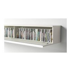 BESTÅ BURS Wall shelf - high-gloss white - IKEA you could hang one or two of these staggered on wall either side of alcove for dvd storage and they would create shelves. Ikea Dvd Storage, Movie Storage, Hidden Storage, Wall Storage, Closet Storage, Storage Ideas, Dvd Shelves, Wall Shelves, Shelving