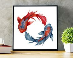 Original artwork on apparel items and wall decor by ZuskaArt Yin Yang Koi, Meditation Art, Poster Wall, Japanese Art, Wall Art Decor, Red And Blue, Watercolor Paintings, How To Draw Hands, Yoga