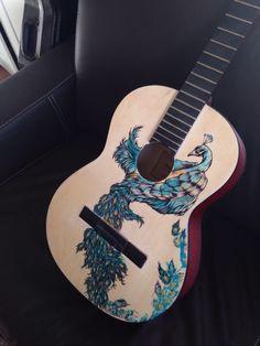 Peacock guitar #guitar #art #ink #peacock